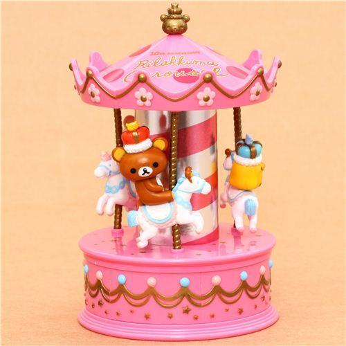 pink Rilakkuma Wonderland bear carousel jewel case casket