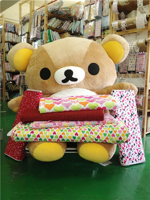 Rilakkuma selected some of his favourite heart fabrics