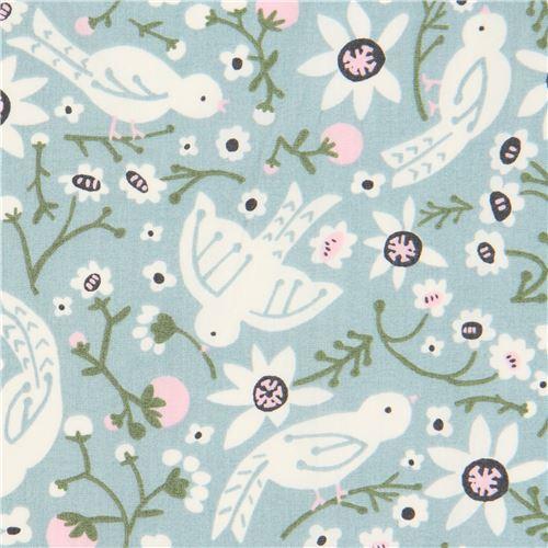 blue with bird animal flower organic poplin fabric from the USA
