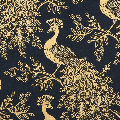 navy blue Canvas fabric peacock bird animal gold metallic by Cotton and Steel