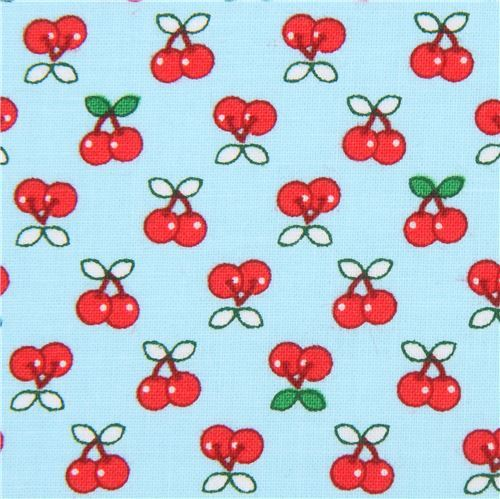 light blue Robert Kaufman small cherry fruit fabric Tiny Happy Lucky
