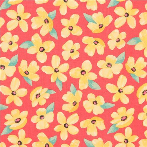 coral fabric yellow flower green leaf by Michael Miller Breezy Blooms