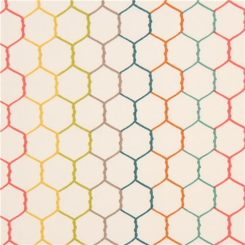 light cream with colorful wire hexagon organic fabric by birch from the USA