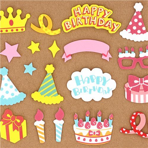 Congrats Happy Birthday sponge sticker sack