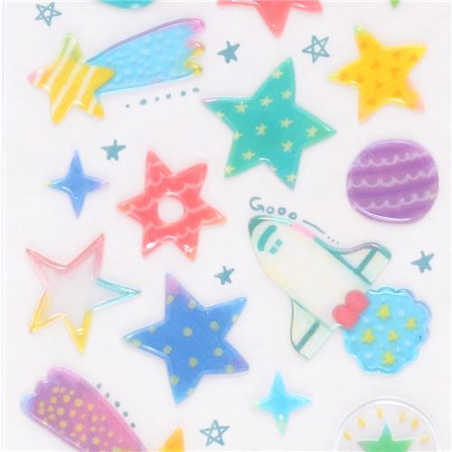 kawaii hard 3D stickers with colorful planet star Japan