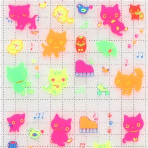 colorful Kutusita Nyanko neon stickers by San-X