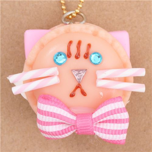 peach color cat face macaron pink bow dessert figure from Japan