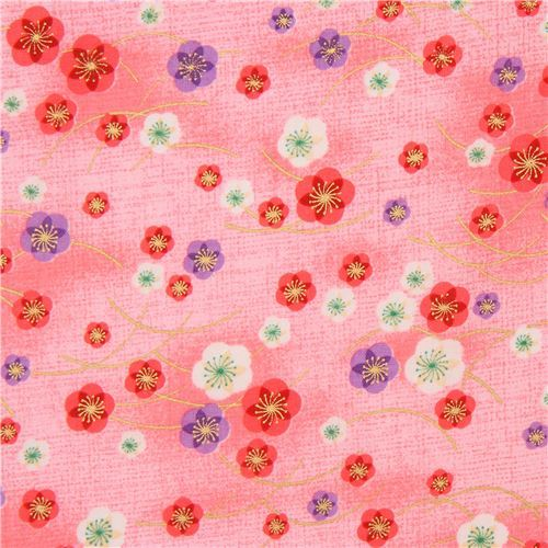 pink Asia purple pink white  blossom flower gold metallic embellishment fabric