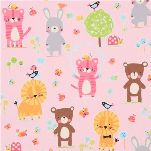 light pink cute rabbit lion Michael Miller animal flannel fabric from the USA