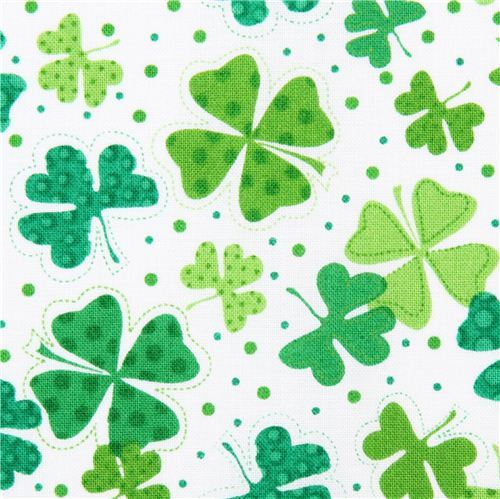 white Shamrocks & Clovers fabric Timeless Treasures