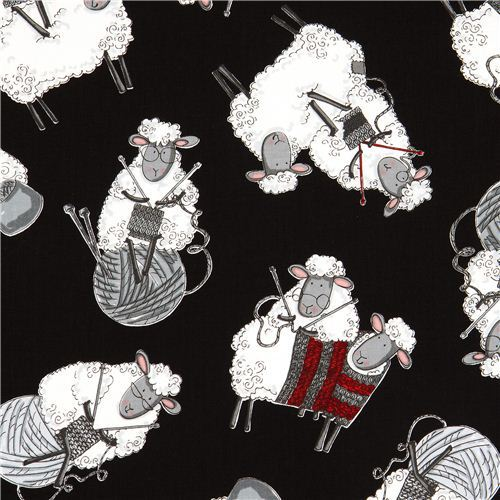 black knitting sheep Timeless Treasures fabric USA