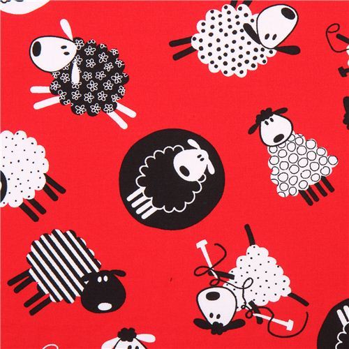 red knitting sheep animal fabric Timeless Treasures