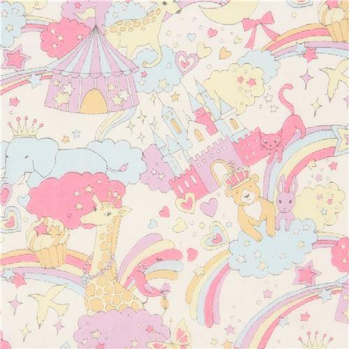 beige Kokka double gauze elephant animal rainbow fabric from Japan