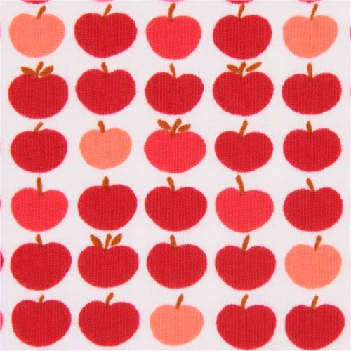 red apple Robert Kaufman off-white Laguna Jersey knit fabric