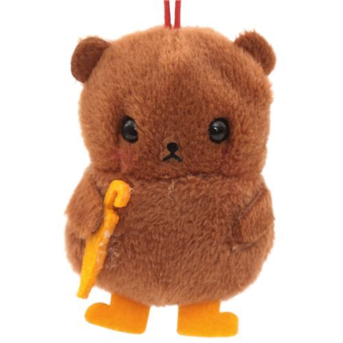 soft brown bear with orange umbrella plush charm