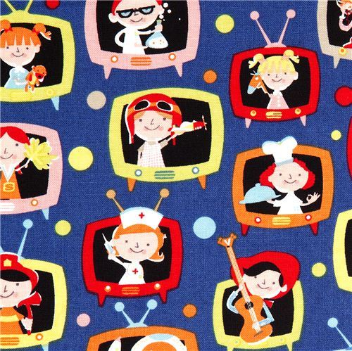 blue Michael Miller fabric with kids in TVs