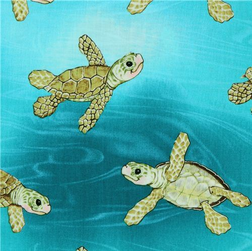 Michael Miller fabric Aqua Surf's Up sea turtles