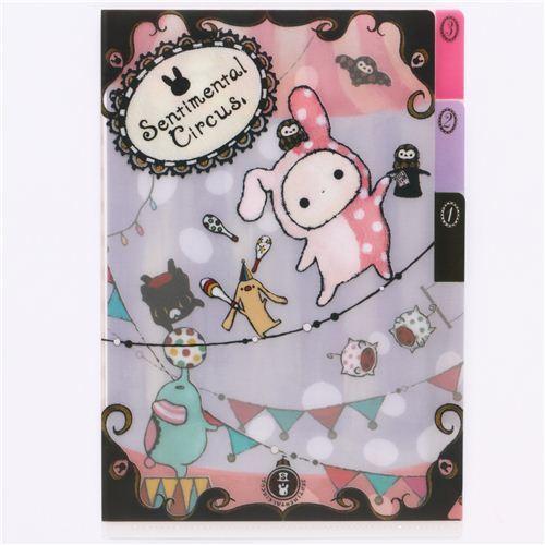 cute Sentimental Circus mini plastic folder 3-pocket animal