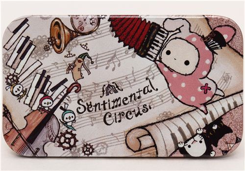 white Sentimental Circus tin case pill box rabbit notes