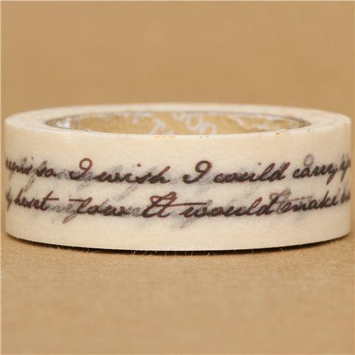 white cursive writing Washi Masking Tape deco tape