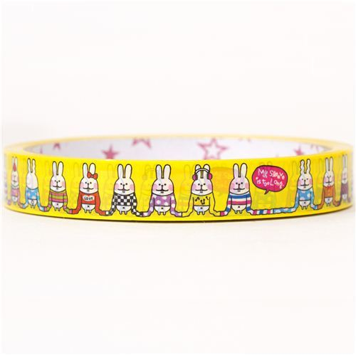 yellow rabbits in sweaters deco tape sticky tape kawaii
