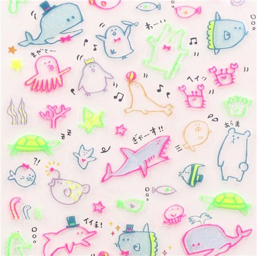 funny neon whale fish polar bear animals stickers by Q-Lia