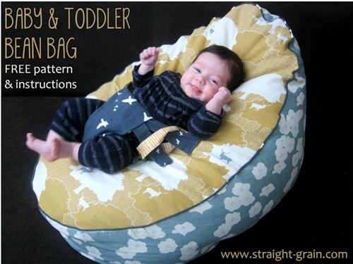 An from the Blog Straight Grain sew an amazing baby and toddler bean bag with our birch fabrics