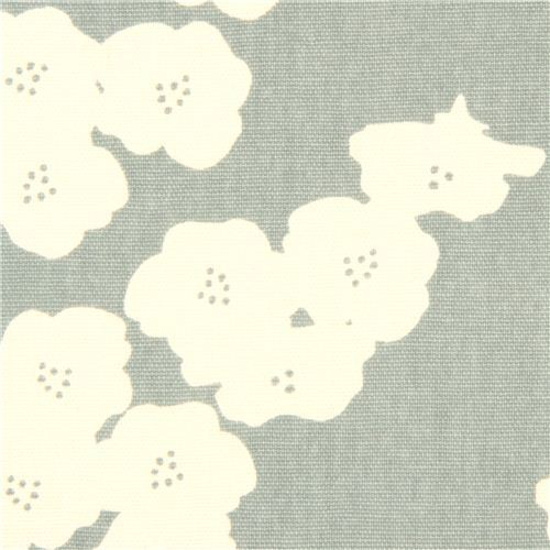 blue-grey poppy flower canvas organic fabric birch USA