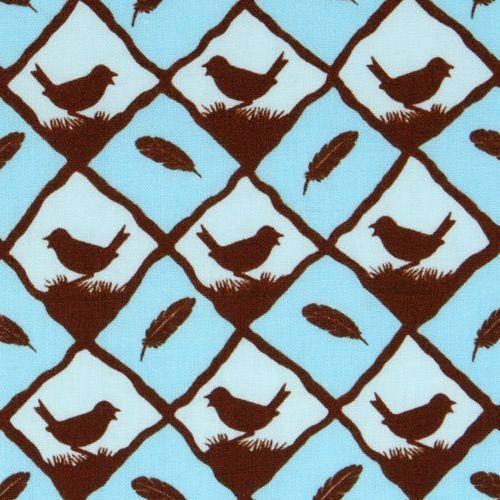 blue bird feather fabric Into The Woods USA designer