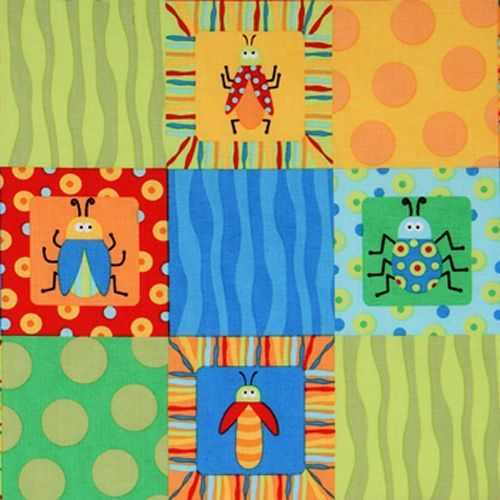 colourful insects patch fabric Beetle Boy USA designer