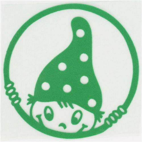cute naughty gnome velour iron-on green kawaii