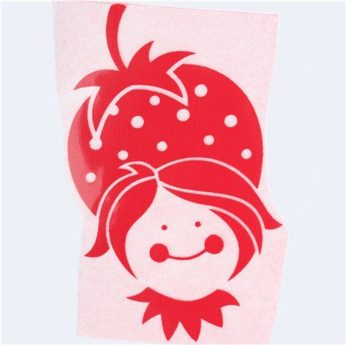 cute strawberry girl velour iron-on red