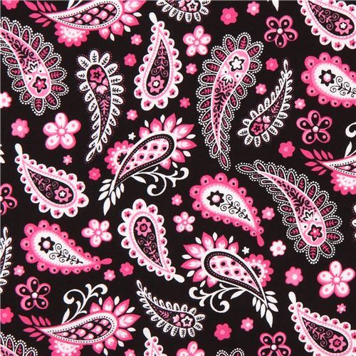 black pink paisley ornament design fabric Marseille Blank Quilting USA