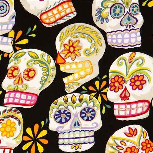 black Alexander Henry fabric with decorated skulls