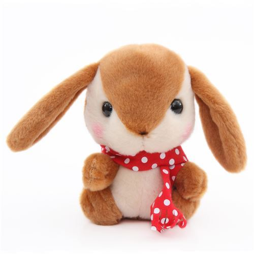 brown bunny rabbit with red scarf Poteusa Loppy plush toy from Japan