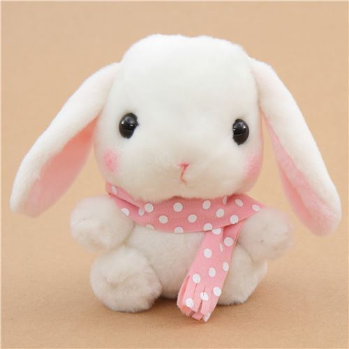 light cream bunny rabbit with dark blue scarf Poteusa Loppy plush toy from Japan