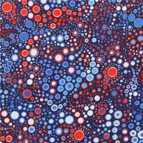 red white blue circle dot bubble fabric Robert Kaufman Effervescence Digital