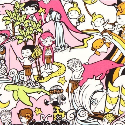 Japanese Hawaii boy anime fabric pink from the USA