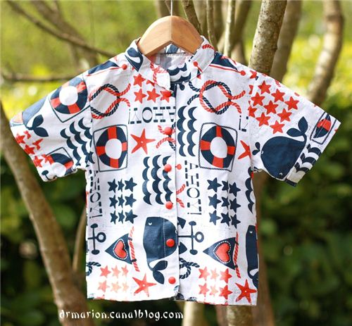 Marion blogged on Les Z'Opérations du Dr Marion about this super cute shirt made with our Michael Miller fabric