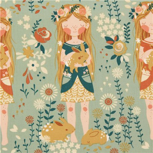 sea green flower girl organic fabric birch Fort Firefly