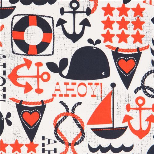 white maritime fabric sailing ship anchor Michael Miller