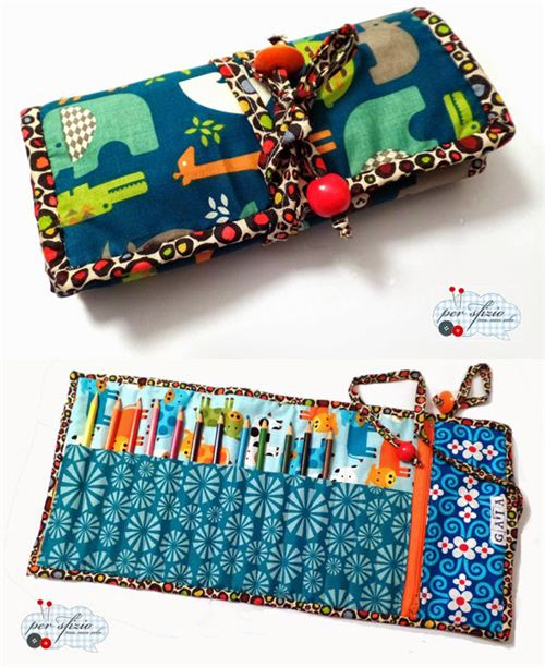 Super pretty pencil case made by Per sfizio ma non solo with many of our fabrics