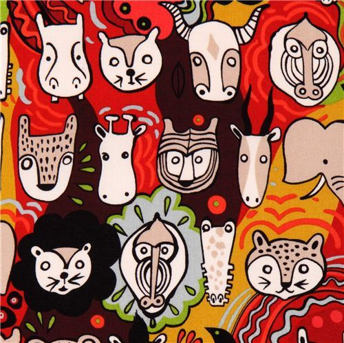 Faces of Liwaza animal fabric by Alexander Henry USA