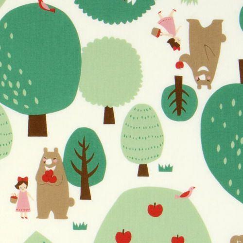 cute Little Red Riding Hood Kokka fabric forrest bear