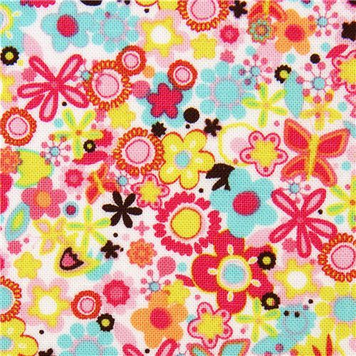 white Michael Miller fabric with many small flowers
