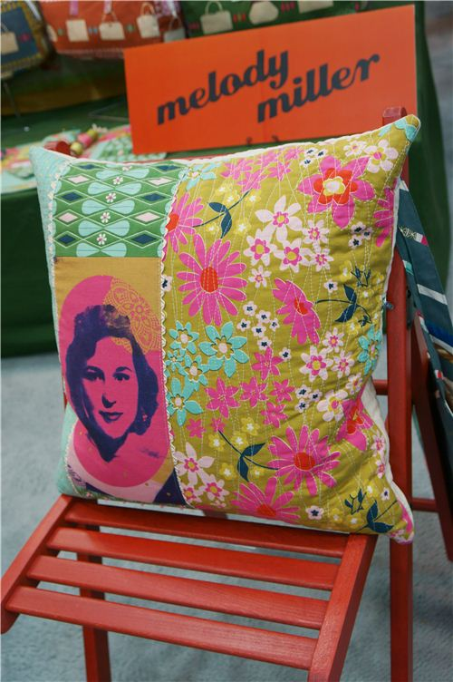 Super cool retro pillow made with Melody Miller fabrics