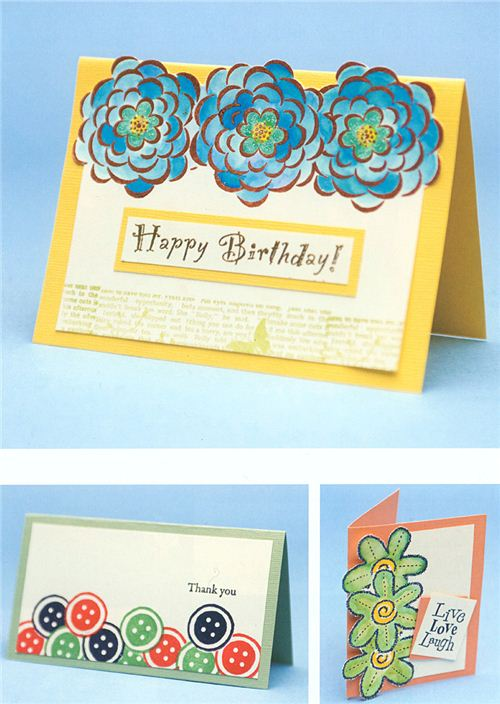For a great effect you can also cut out stamped designs and glue them onto your card