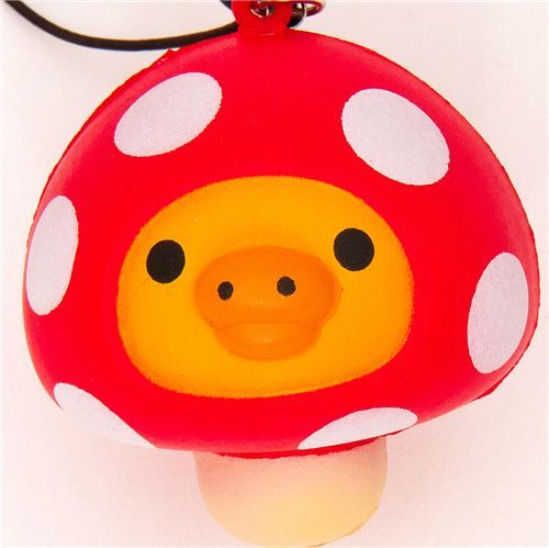 Kiiroitori chick mushroom squishy cellphone charm