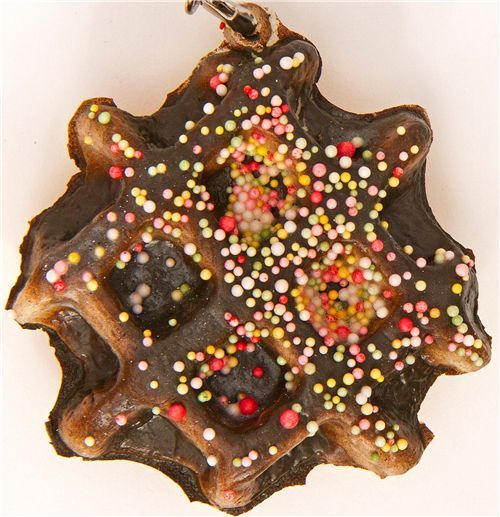 chocolate waffle squishy charm with sprinkles