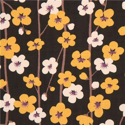 dark green structured marigold yellow light cream flower dobby fabric from Japan